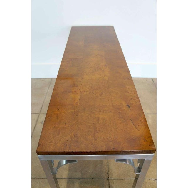 1970s Burled Walnut & Aluminum Console For Sale - Image 5 of 8