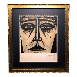 """Limited Edition """"Visage"""" Framed Lithograph Pencil Signed by Bernard Buffet For Sale"""