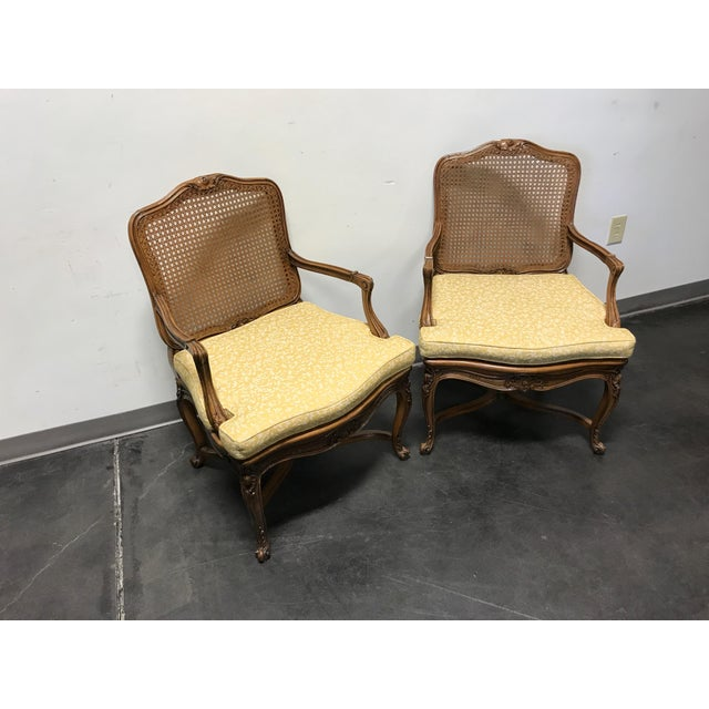 Carved French Style Open Armchairs with Cane Backs - A Pair - Image 4 of 11