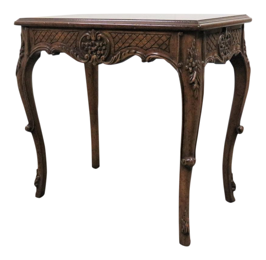 Country French Style Carved Side Table