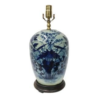 Antique 19th Centry Chinese Celedon Blue/White Ginger Jar Lamp