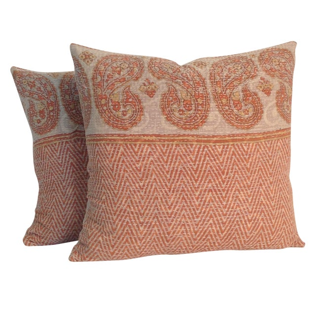 Vintage Block Printed Kantha Quilt Pillows - Pair - Image 1 of 4