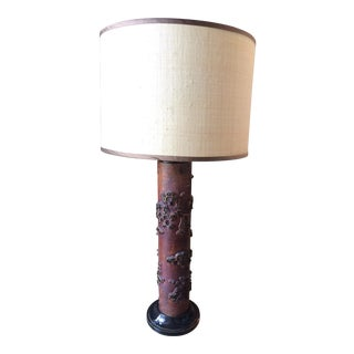Antique French Wallpaper Roller Table Lamp For Sale