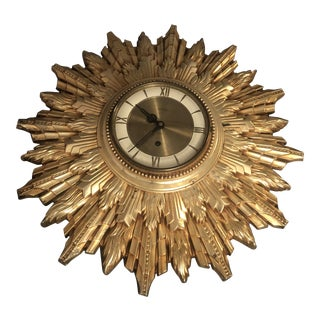 1960s Gold Wall Clock by Welby For Sale