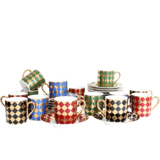 Vintage Mid-Century Checkerboard Espresso Set - 32 Pieces For Sale