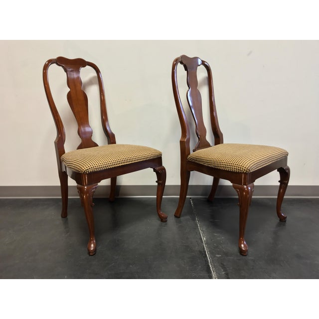 Solid Cherry Queen Anne Dining Side Chairs by Fancher - Pair 2 For Sale In Charlotte - Image 6 of 9