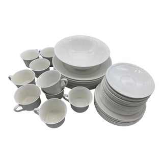 Wedgwood's Hedge Rose Dinner Plates, Saucers, Cups & Bowl Dinnerware Set- 36 Pieces For Sale