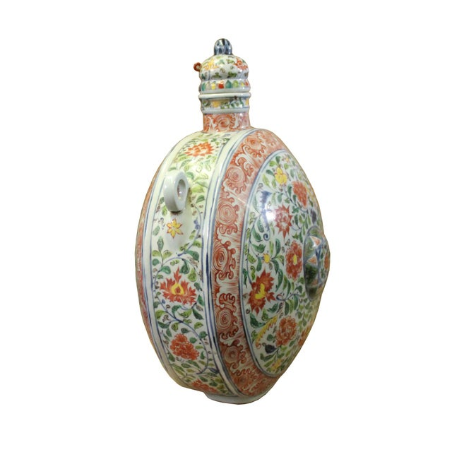 Asian Chinese Handmade Multi-Color Flower Porcelain BaoYue Pot Jar For Sale - Image 3 of 8