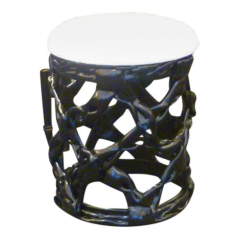 REDUCED FROM $1,500......Uniquely chic, this stool of black lacquered resin ribbons in the manner of Tony Duquette is a...