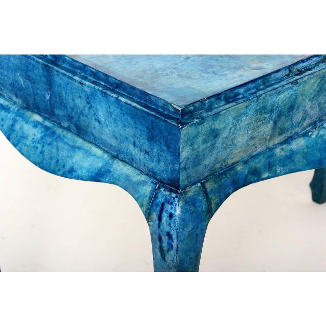 Blue Goatskin Console Table For Sale In San Diego - Image 6 of 7