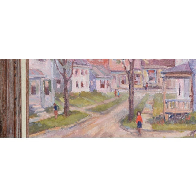 Canvas C.1950's John W. Wagner Cityscape Oil Painting For Sale - Image 7 of 9