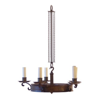 Early 20th Century Antique Arts & Crafts Hammered Iron Chandelier For Sale