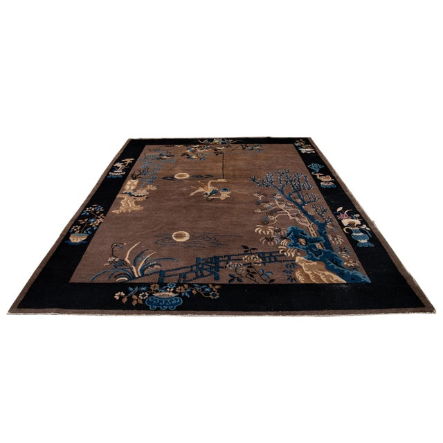 Early 20th Century Antique Art Deco Chinese Piking Wool Rug For Sale - Image 12 of 13
