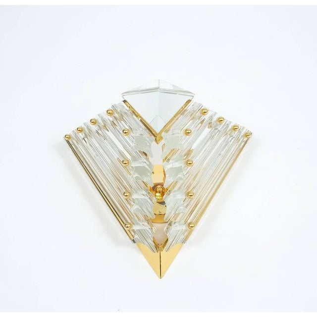 1970s Pair of Triangular Crystal and Brass Murano Sconces, circa 1970 For Sale - Image 5 of 5
