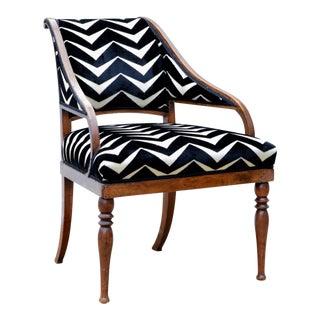 Neoclassical Style Slipper Chair in Cut Velvet For Sale