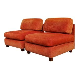 1960s Mid Century Modern Velvet Lounge Chairs by Roshe Bobois-A Pair For Sale