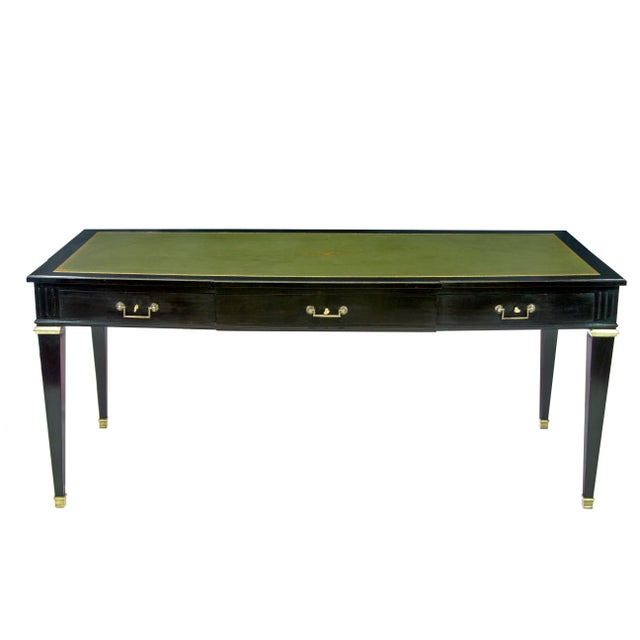 French Louis XVI Style Gilt-Bronze Mounted Black Lacquered and Green Leather Top Writing Table For Sale - Image 3 of 3