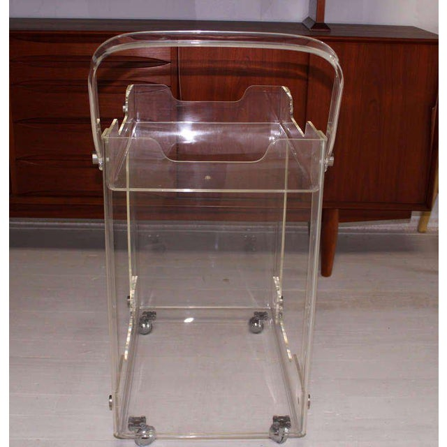 Early 20th Century Bent Lucite Mid-Century Modern Tea Cart For Sale - Image 5 of 7