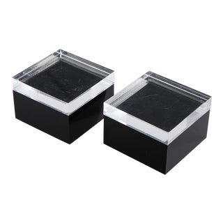 Vintage Black and Clear Lucite Boxes - a Pair For Sale