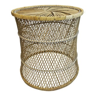 Vintage Boho Chic Round Wicker Side Table