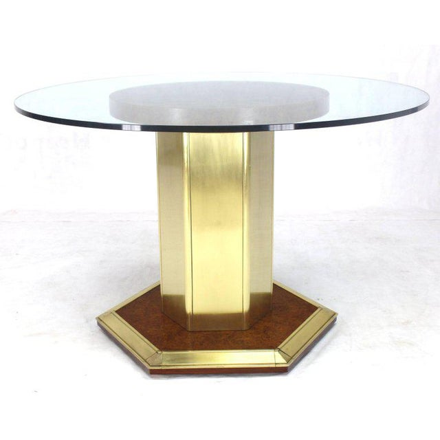 Round Brass Burl Wood Glass Top Center Dining Conference Table Henredon For Sale In New York - Image 6 of 8