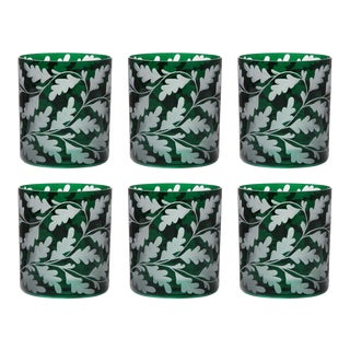 Oak Leaves Double Old Fashioned Glasses Set of 6, British Racer Green For Sale