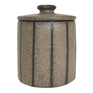 1970s Hand-Thrown Stoneware Lidded Canister For Sale