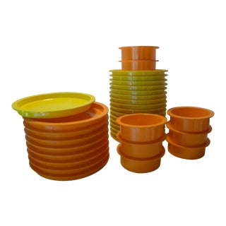 1970s Gunnar Cyren for Dansk Designs Orange and Yellow Melamine Dishes - 33 Pieces For Sale