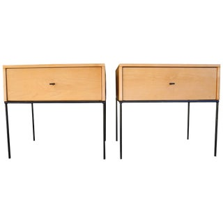 Mid-Century Modern Pair of Paul McCobb Nightstands in Maple on Black Steel Base For Sale