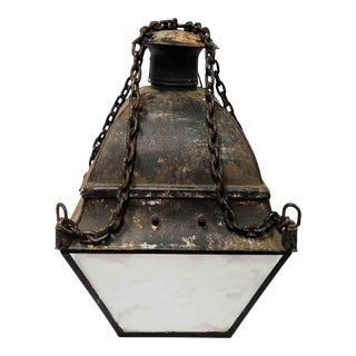 1930s Century Nautical Style Black Painted Iron Lantern With Distressed Finish For Sale