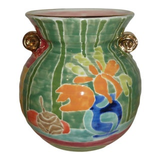 Contemporary Rosenwald Colorful Glazed Urn With Gold Accents For Sale