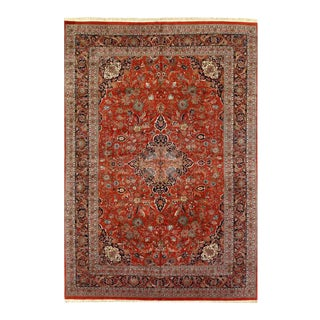 Pasargad Rust Fine Hand-Knotted Kashan Rug- 11′11″ × 17′ For Sale