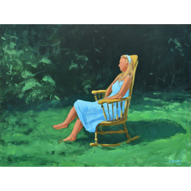 Painting of a Woman Sitting in a Rocking Chair Outside For Sale - Image 12 of 12