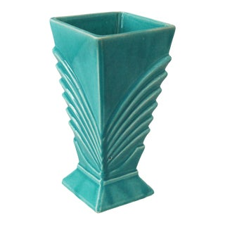 1940s Vintage McCoy Art Deco Turquoise Vase For Sale