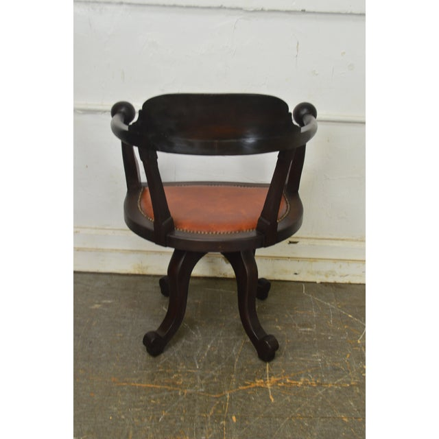 Mahogany Victorian Antique Mahogany Swivel Desk Chair For Sale - Image 7 of 13