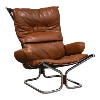 Igmar Relling for Westnofa Leather and Chrome Lounge Chair For Sale