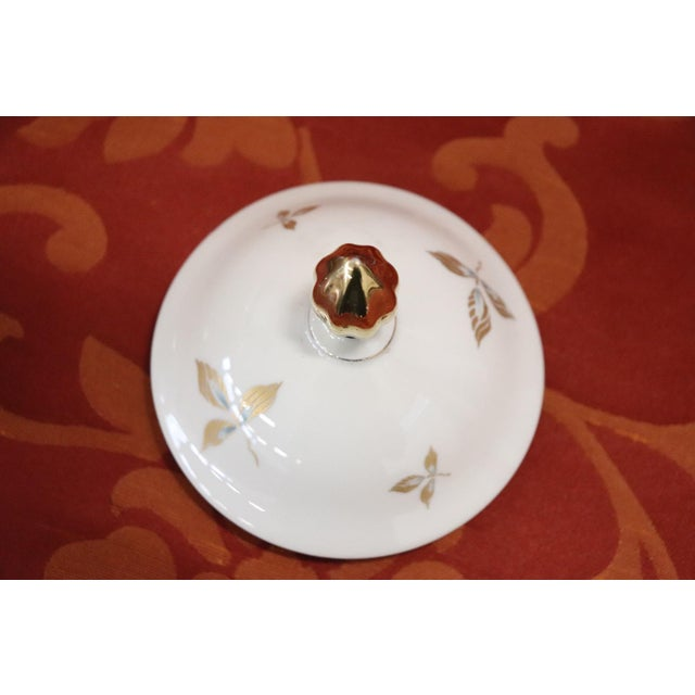 Hand Painted and Gold Porcelain Centerpiece by J Seltmann 2 Pieces, 1930s For Sale - Image 9 of 11