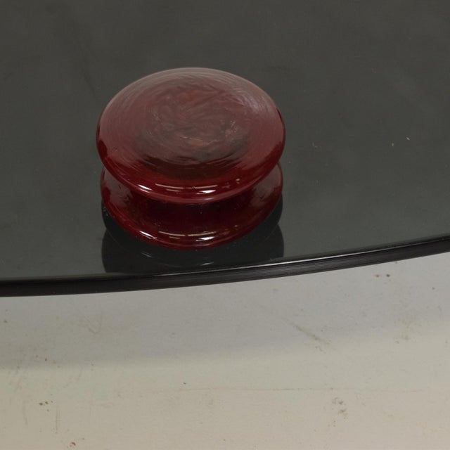 Modernist Oval Serving Tray in Smoke Glass With Red Ruby Glass Handles and Sabots Signed For Sale - Image 9 of 10