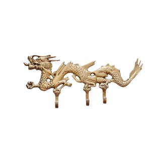 Chinoiserie Brass Dragon Wall Hooks Fixture For Sale