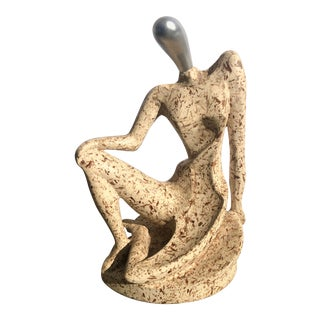 Modernist Travertine Figural Sculpture of a Woman For Sale