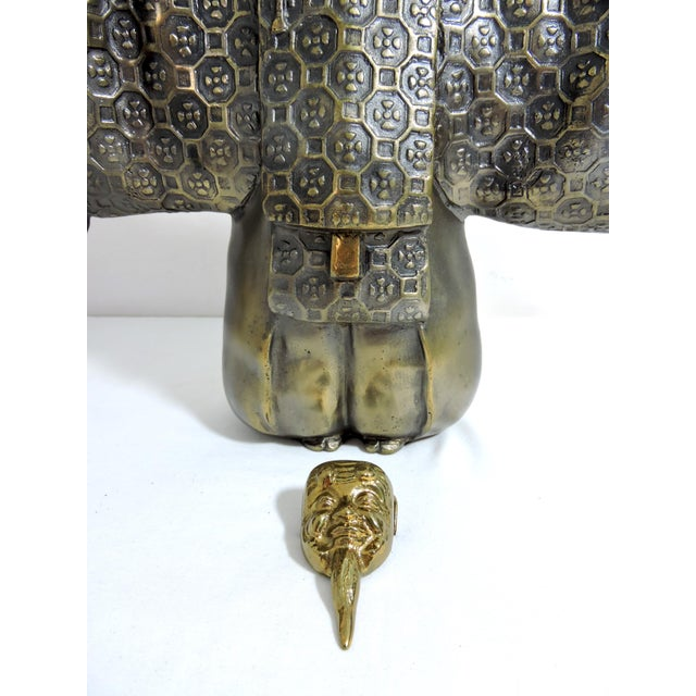 Vintage Japanese Brass 'Noh' Figure/Okimono Statue With Okina Mask For Sale - Image 10 of 13