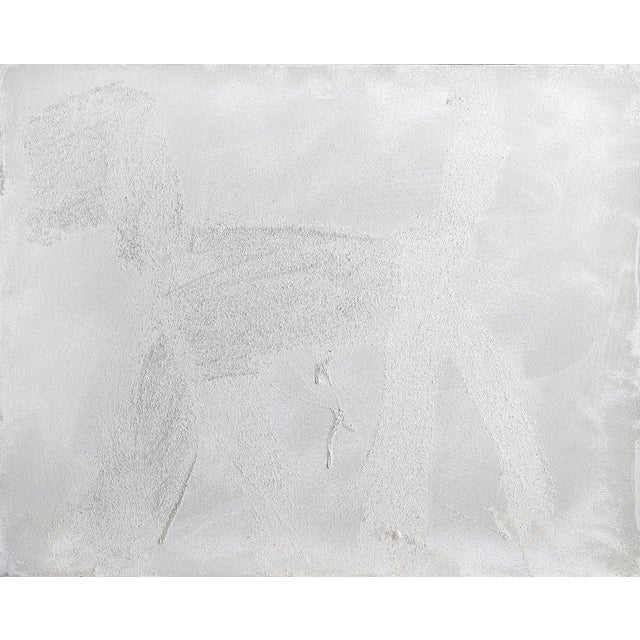 Peter Mayer, Dog (White on Silver) (12), Acrylic on Canvas For Sale