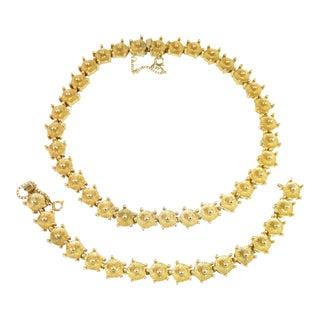Mid-Century Modern Castlecliff Geometric Necklace & Bracelet Suite 1960s For Sale