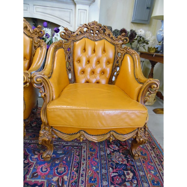 These gorgeous Leather/Hand-carved Chairs were bought from a Dealer who specialized in European Antiques. They were used...