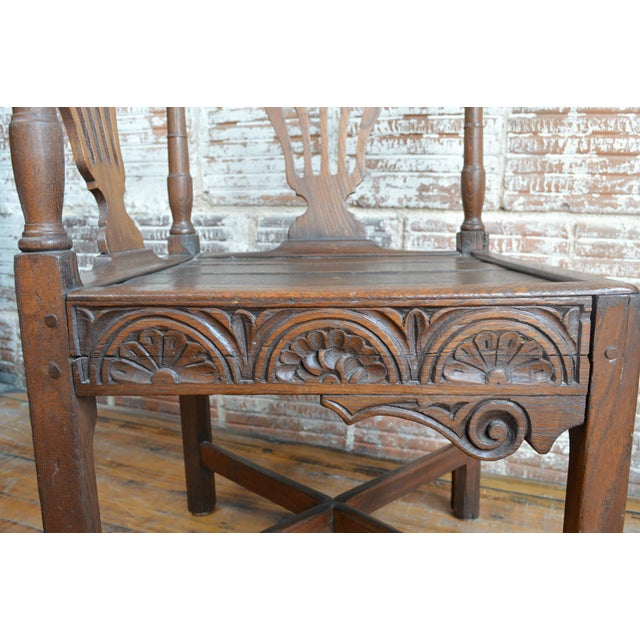 19th Century Carved Elm Corner Chair For Sale - Image 9 of 13