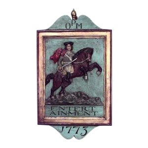 20th Century American Country style carved and painted wall plaque of Revolutionary soldier on horseback For Sale