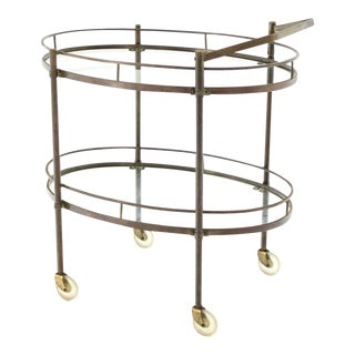 1979 Hollywood Regency Oval Two-Tier Brass Tea Cart or Serving Table For Sale