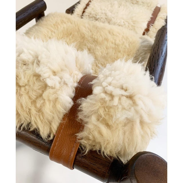 Forsyth X Old Hickory Butte Chair and Ottoman With Custom California Sheepskin Cushions and Loro Piana Buffalo Leather For Sale - Image 9 of 11