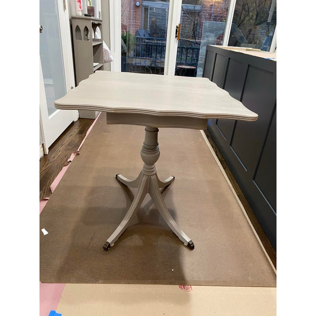 Vintage Traditional Flip Top Pedestal Table, Console or Desk. Beautiful little table painted in soft, dove gray. Pedestal...