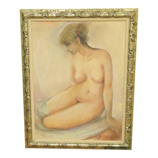 Large Oil Pastel Nude in Gilded Frame For Sale